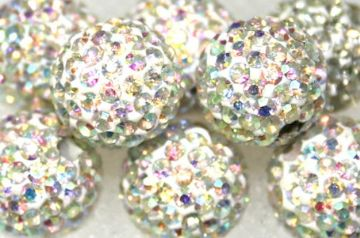 10mm Clear AB 115 Stone  Pave Crystal Beads- Half Drilled PCBHD10-115-001